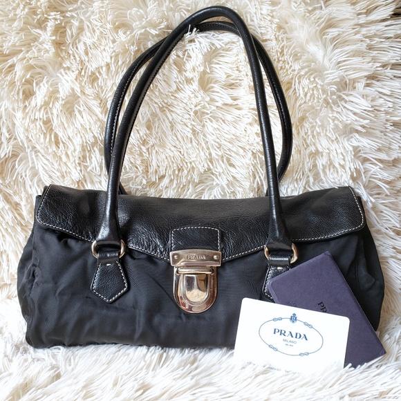 49659dc2a8a1dd PRADA Tessuto / Vela Leather shoulder bag. M_5b8304c0d6dc529f5361c3ba